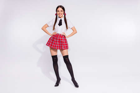 Full length body size photo beautiful amazing she her lady long hair school best pupil teacher student coquette eyewear eyeglasses wear red checkered plaid suit pantyhose tie isolated white background
