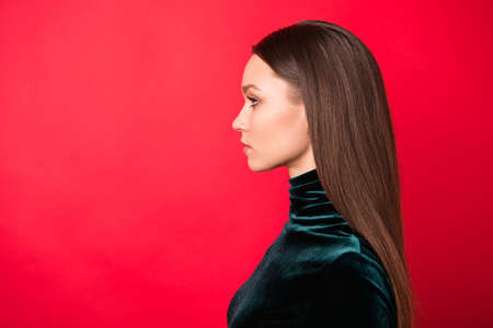 Profile side photo of charming lady true expert leader isolated over red bright background