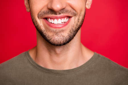 Cropped photo of guy face showing perfect teeth after dentist visit wear grey t-shirt isolated on red background