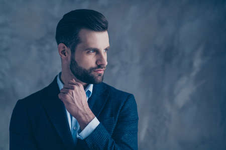 Profile side photo of charming man looking minded having thoughts wearing modern blazer jacket isolated over grey background