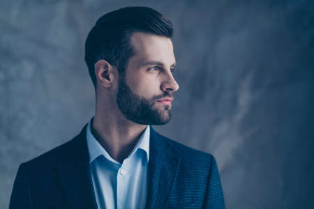 Profile side photo of minded classy, person good-looking wearing stylish blazer jacket formal wear isolated over grey background