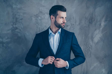 Profile side photo of minded magnificent entrepreneur looking wearing blazer jacket isolated over grey background