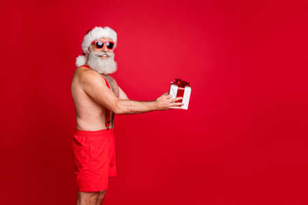 Profile side view portrait of nice attractive cheerful glad funky bearded gray-haired man holding in hands handling bow ribbon box holly jolly winter isolated on bright vivid shine red background Stockfoto