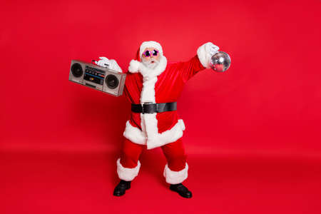 Full body photo of carefree careless fooling mad wild star dancer dancing having fun cool santa grandfather enjoying vacation time isolated bright background Archivio Fotografico - 129822243