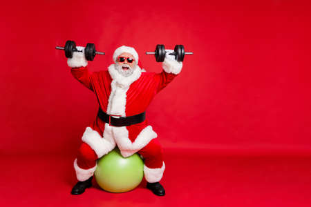 Full length body size view of his he cheerful cheery glad funky fat overweight plump gray-haired bearded man lifting weight body building isolated over bright vivid shine red background Archivio Fotografico - 129822357