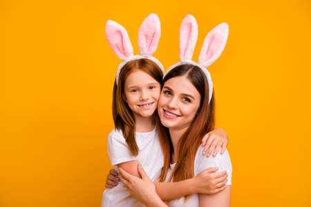 Close-up portrait of two nice-looking attractive lovely cheerful cheery sweet tender gentle person spending holiday weekend isolated over bright vivid shine yellow background Stok Fotoğraf