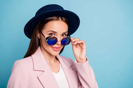 Close up photo of charming pretty lady touch her specs want be good-looking true businesswoman wear pink coat isolated over blue color background