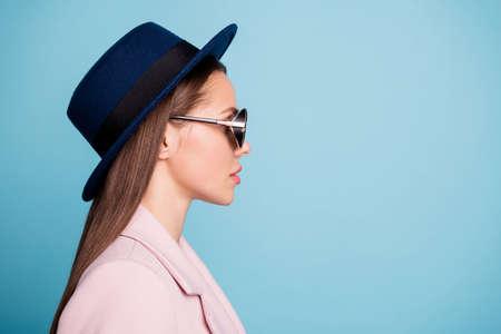 Profile side photo of glamorous businesswoman ready to solve work problems wearing fashionable eyewear eyeglasses isolated over blue background