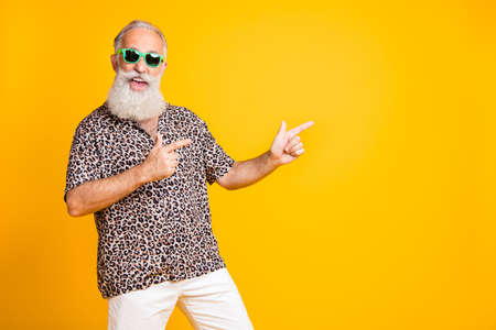 Portrait of crazy funny funky old bearded man with eyeglasses eyewear point at copyspace recommend sales discounts wear leopard print shirt isolated over yellow background