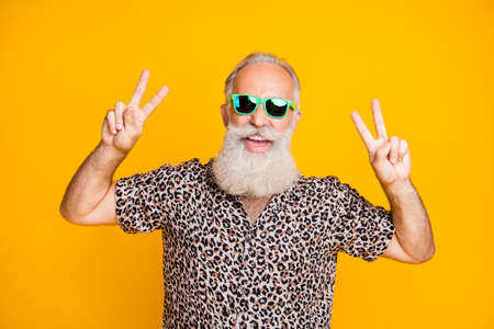 Portrait of cheerful funny funky old bearded man travel on trip enjoy journey make v-signs wearing leopard print shirt isolated over yellow background