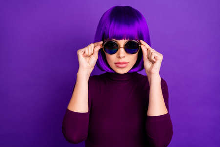 Close up photo of concentrated person wearing specs modern turtleneck isolated over purple violet background