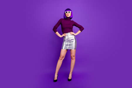 Full length photo of coquettish lady send air kiss wear sun specs trendy outfit isolated purple background