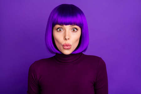 Close up photo of astonished lady look wearing turtleneck isolated over purple violet background