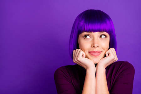 Close up photo of cute lady touching her chin with arms wearing turtleneck isolated over violet purple background