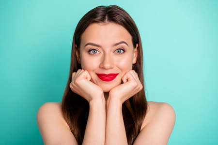 Close-up portrait of her she nice attractive calm peaceful straight-haired girl purity natural effect wellness laser surgery peeling isolated over green blue turquoise bright vivid shine background Фото со стока - 130019698