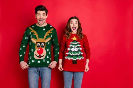 Portrait of astonished two people wife with brunette hair scream wow enjoy deer christmas pattern fashion jumper wear denim jeans stylish trendy pullover isolated over red color background Imagens