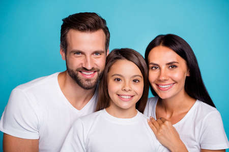 Close up photo of dad mom and small lady happy together wear casual outfit isolated blue background