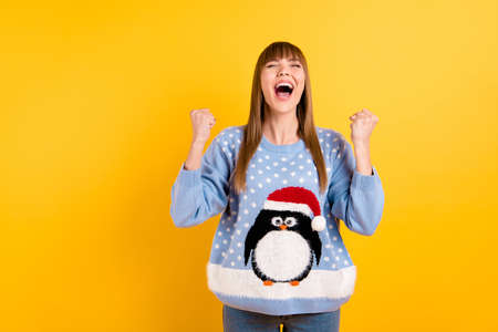 I adore love newyear concept. Photo of pretty rejoicing girl wearing oversize knitted with comic pattern picture pullover jumper having won super prize isolated bright color background Stock Photo