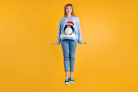 Its time to have fun concept. Photo of pretty charming excited positive cheerful kind friendly sweet person student jumping up isolated vibrant color background Banco de Imagens