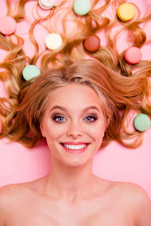 Vertical side profile top above high angle view photo amazing she her lady, energetic lying down sweets ideal hair slim skinny stunning curious interested naked isolated rose pink bright background