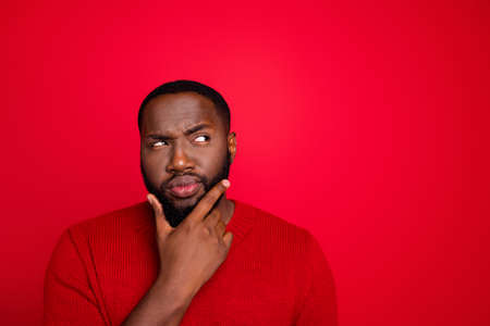 Close-up portrait of his he nice attractive bearded guy boyfriend creating interesting novelty plan guessing clue decision isolated over bright vivid shine red background