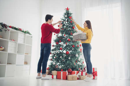 Full length low angle view photo of two romantic people decorate cristmas evergreen tree hang balls toys prepare for noel celebration enjoy xmas atmosphere in house indoors Stock Photo