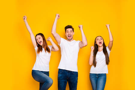 Portrait of three nice attractive lovely cheerful cheery person celebrating cool attainment having fun rising hands up isolated over bright vivid shine yellow background Standard-Bild