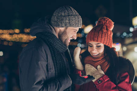 Lets get married. Close-up portrait of his he her she nice attractive charming cute lovely cheerful cheery couple wearing warm outfit guy making proposal 14 February outdoors