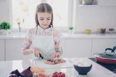 Close-up portrait of her she nice attractive beautiful lovely charming cute pre-teen girl chopping fresh useful healthy meat in light white interior room kitchen house indoors Stock fotó