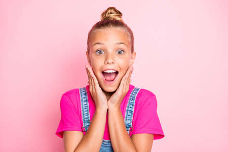 Close up photo of rejoicing encouraged screaming girl shouting loudly wearing fuchsia t-shirt isolated over pastel color background