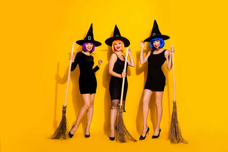 Lets get it started. Photo of pretty beautiful attractive nice glad flirty ladies holding using broomsticks for flying wearing tight dark apparels caps isolated bright shine color background Banco de Imagens