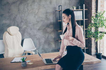 Photo of beautiful attractive business woman sitting on desktop enjoying cup of warm tea looking into laptop while posting to her social media Stock Photo