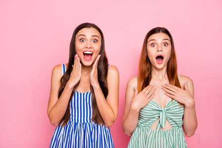 Portrait of cheerful ladies screaming touching their cheeks chest with hands wearing striped dress skirt isolated over pink background Stock fotó