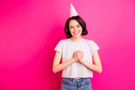 Photo of charming cute attractive sweet pretty girlfriend wearing grey t-shirt receiving congratulations from someone while isolated, over fuchsia vivid color background