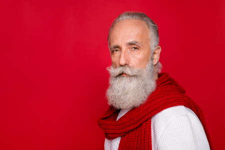 Close up photo of classy person looking wearing white jumper isolated over red background