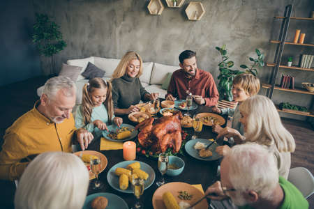 Portrait of nice idyllic cheerful cheery big full family couples brother sister eating domestic fresh delicious meal dishes gratefulness gathering tradition modern loft industrial style interior house