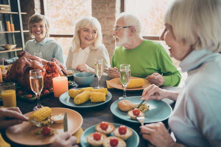 Portrait of nice lovely cheerful cheery glad friendly big full family enjoying eating domestic brunch lunch delicious meal dishes generation gathering in modern loft industrial style interior house Stok Fotoğraf