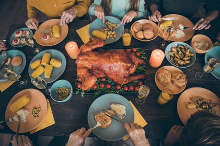Croped above high angle view of nice big full family company group couples meeting gathering eating domestic tasty yummy delicious hot fresh meal dishes gratefulness served table in house restaurant