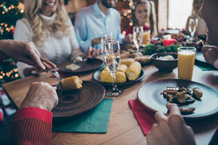 Close up photo of big large family ready to meet new year eating festive food enjoying company of each other of son daughter grandparents granddaughter grandson drinking delicious beverages Stok Fotoğraf