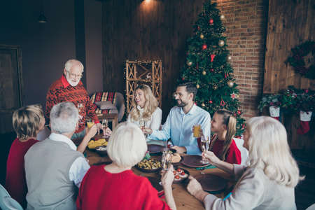 Nice lovely friendly idyllic cheerful big full family spending December gathering tradition eating brunch grandpa saying toast in modern industrial loft brick style interior decorated house