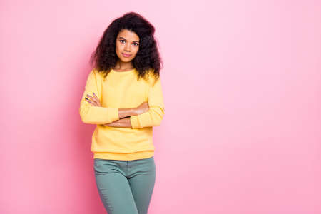 I know everything about start-up concept. Photo of pretty concentrated self-assured brunette lady holding hands crossed wearing grey pants isolated pastel color background Banco de Imagens