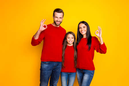 Photo of joyful smiling cheerful cute family showing you ok sign wearing jeans denim smiling toothily being brunette haired isolated over yellow vivid color background