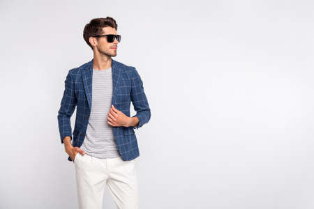 Portrait of his he nice-looking attractive content luxurious rich wealthy businessman wearing checked blazer modern cool look isolated over light white pastel background 免版税图像