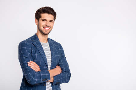 Turned photo of imposing youth cross his hands wear plaid outfit blazer jacket isolated over white background
