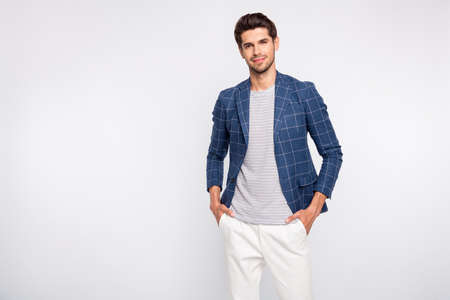 Portrait of charming guy real work wear blazer jacket pants trousers isolated over white background