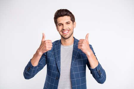 Portrait of imposing guy show his thumb up advertise promo wear modern plaid blazer jacket isolated over white background Stock fotó