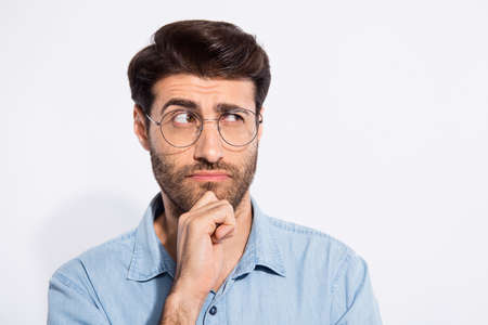 Photo of arabian amazing guy think over important business project speech for seminar wear specs casual denim shirt isolated white color background