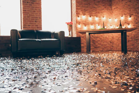 Photo image view of empty living room with cozy comfortable furniture lovely atmosphere decorated to have fun sweet meeting with fiance girlfriend boyfriend surprise