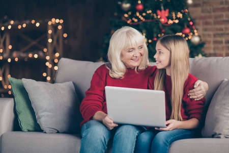Portrait of nice attractive lovely sweet cheerful cheery granny pre-teen grandchild using laptop spending winter December vacation at decorated industrial loft style interior house