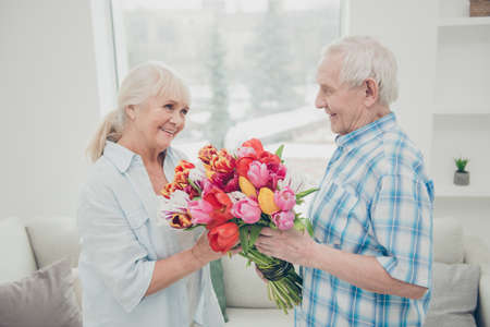 Profile photo of two adorable aged people cute pair anniversary holiday surprise big red tulips bunch bright flat indoors